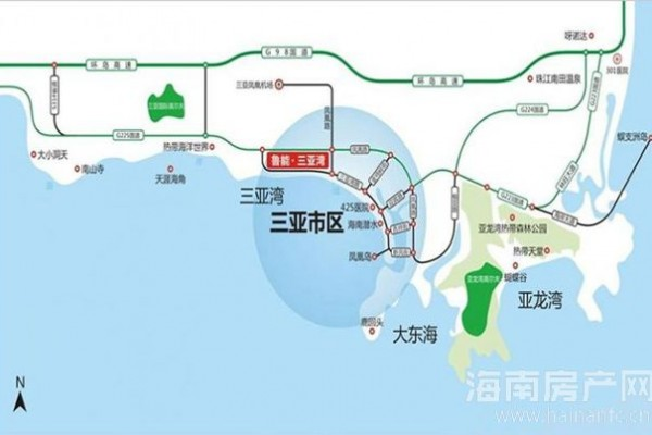 鲁能三亚湾区位图