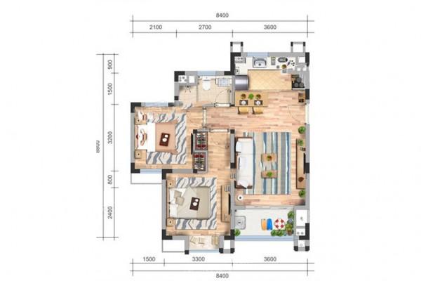 洋房75㎡户型 2室2厅1卫1厨